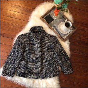 Ann Taylor loft retro black tweed blazer jacket Xs